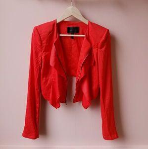NWOT BCBG MaxAzria cropped ruffle jacket blazer